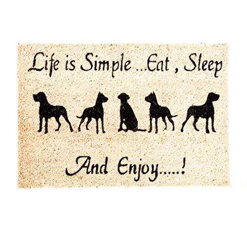 LB H&F Fußmatte Türmatte Kokosmatte Hund Wachhund WauWau Außenbereich Außenmatte- 60 x 40 cm - (7) - Recycling-kokos