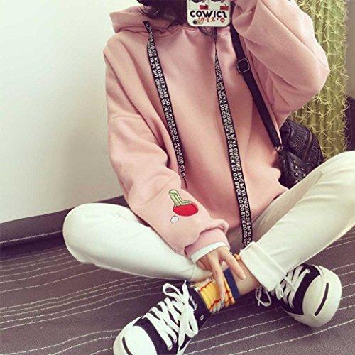 Femmes Fille Chandail ¨¤ Capuche ¨¤ Capuche ¨¤ Manches Longues Sweat Lache Pull ¨¤ Capuche Printemps Automne pink