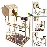 WANGYONGQI Grande Uccello posatoi Giocare Stand Palestra Pappagallo Parco Giochi per Bambini Ponte Altalena Vassoio Legno Salire scalette Legno parrocchetto Macaw