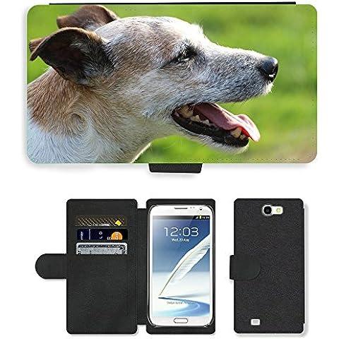 PU Flip Carcasa Funda de Cuero Piel Cubre Case // M00133651 Cane Capo Close Parson Russell Terrier // Samsung Galaxy Note 2 II N7100