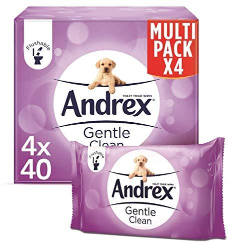 Andrex Gentle Clean Flushable Washlets, Fragrance Free, 4 Packs
