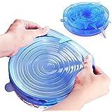 Tapas de silicona Strech, 6 paquetes de protectores de alimentos con varios tamaños (6-Pack, Azul)