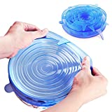 GreenDream Silicone Stretch Lids Reusable BPA free Food Fresh-Keeping Covers ,6 pack Multi-Size Containers Covers (Blue)