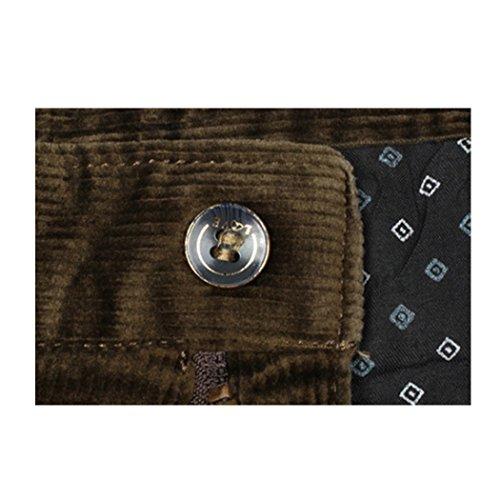 Mocotono Herren Stretch Cordhosen Winter Warm Baumwolle Hosen mit Zipper Kaffee