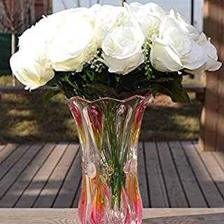 ALCYONEUS 1 Large Bouquet 24 Heads Artificial Fake Rose Flower Wedding Party Home Decor (White)