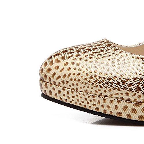 AllhqFashion Damen Rund Zehe Ziehen Auf Pu Leder Gemischte Farbe Hoher Absatz Pumps Schuhe Golden