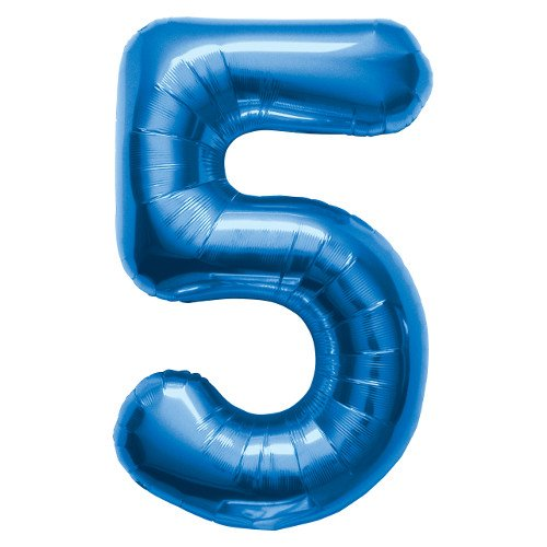 Number 5 - Blue Helium Foil Balloon - 34 inch by Northstar Balloons