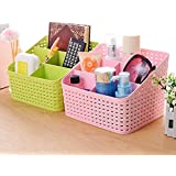 FASTUNBOX (LABEL) Plastic Storage Basket, 21.7x18.3x15.9 cm, Multicolour - Set of 2 Pieces