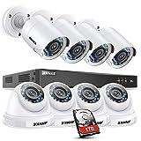 SANNCE Système de vidéosurveillance DVR 1080P HD 5-en-1 avec 8 caméras IP66 intérieures et extérieures à l'intérieur et à l'extérieur et Vision Nocturne IR,Disque Dur de 1TB