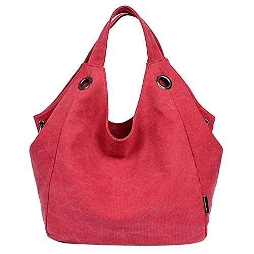 kiss-gold-damen-schultertasche-canvas-totes-hobo-bag-mit-einfachem-stil-rot