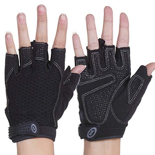 Xxw Fitness Handschuhe Sport Half Finger Reck Training Yoga Ausrüstung rutschfeste Klimmzüge Männer und Frauen Dünnschliff (Color : Standard Model (Black), Größe : L) (Yoga-ausrüstung Für Frauen)