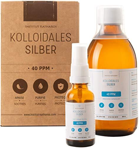 Kolloidales Silber 100% natürlich 40 PPM (300 ml) Mit unentbehrlichem auffüllbarem 30ml-Spray und praktischem Messdeckel Hohe...