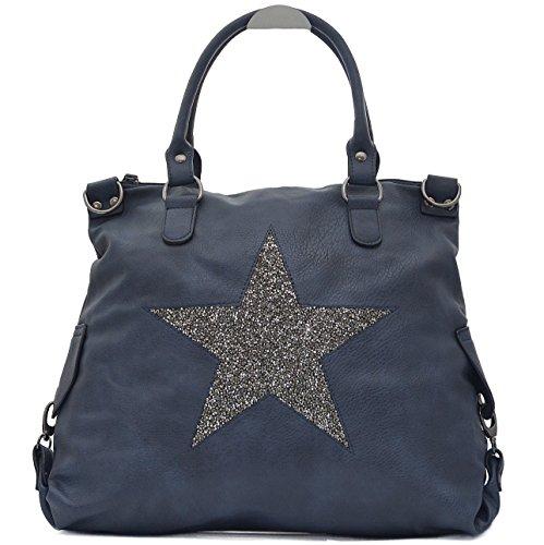 Vain Secrets Sternen Shopper Damen Handtasche mit Schulterriemen (Blau PU Strass)