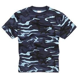 100% Cotone Stile Militare T-shirt – Midinght Blu Mimetico 6ef58cda345a