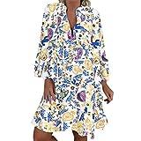 LOPILY Frauen Große Größen Blumenmuster Kleider Boho Stil Übergröße Sommerkleider Blumendruck Knielang Kleid Kurzarm Kleid Tunika Swing Kleid (Grün, 52)