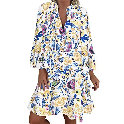 LOPILY Frauen Große Größen Blumenmuster Kleider Boho Stil Übergröße Sommerkleider Blumendruck Knielang Kleid Kurzarm Kleid Tunika Swing Kleid (Grün, 54) (2019 Halloween-kostüme Jungen)