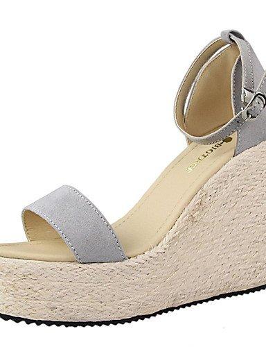 WSS 2016 Chaussures Femme-Habillé-Noir / Rose / Blanc / Argent / Gris / Or-Talon Compensé-Compensées / Bout Arrondi / Bout Ouvert-Talons-Daim / gray-us7.5 / eu38 / uk5.5 / cn38