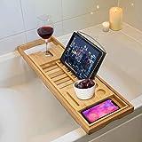 Trixes Premium Bambus Badewannen-Ablage Bade-Caddy - Ausziehbare luxuriöse Heim-Entspannungs-Spa-Erfahrung für Bädewannen mit Buchständer Kerzenhalter - Kompatibel mit Tablets und E-Readern