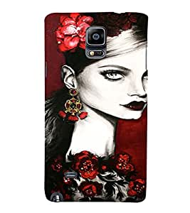 PrintVisa Beautiful Girl Art 3D Hard Polycarbonate Designer Back Case Cover for Samsung Galaxy Note 4