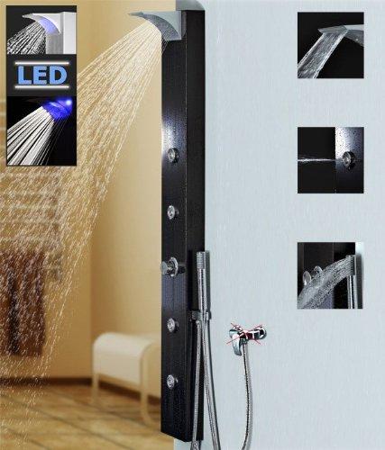 Schwarzes Alu LED Duschpaneel mit Wasserfall und Massagedüsen schwarz Sanlingo Brauseanschluss