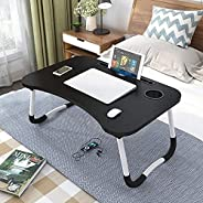 Datazone Foldable Laptop Table, Adjustable Bed Table with Stand for Smartphone, iPad, Cup Slot Suitable for Mu