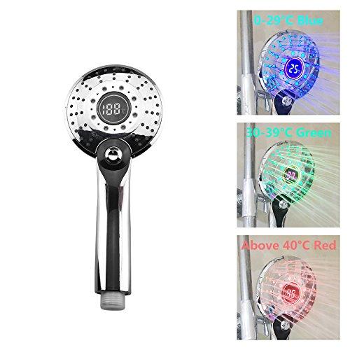 GuDoQi LED Duschbrause mit Temperatursensor Digitalanzeige 3 Farbwechsel 3 Einstellungen Wasserbetriebene Dusche
