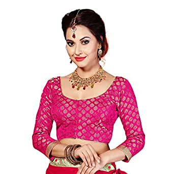 Studio Shringaar Women's Brocade Long Sleeves Formal Blouse (Pink, 40)