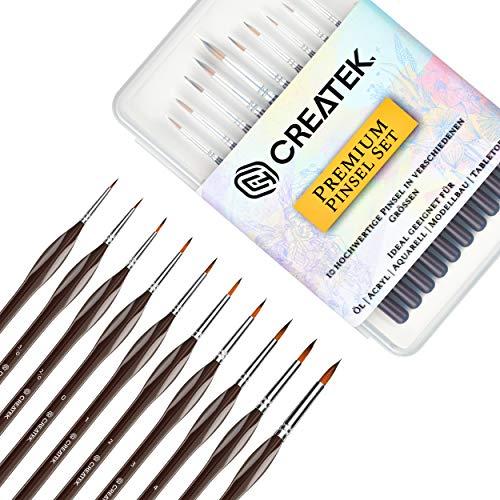 (CreaTek® Innovatives Pinselset Malen - Set 10 Premium Malpinsel - Ideal für Öl, Acryl, Aquarell, Modellbau, Warhammer 40k I Paint Brush Set)