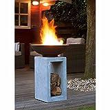 OUTLIV. Feuersäule Garten Feuerschale auf Säule Design Gartendeko 39,5x39,5x68,5cm Metall/Clayfibre-Leichtbeton Zement-Grau