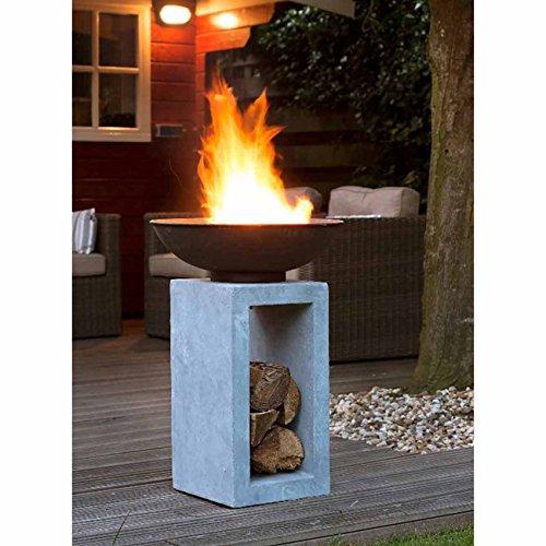 feuerschale auf saeule OUTLIV. Feuersäule Garten Feuerschale auf Säule Design Gartendeko 39,5x39,5x68,5cm Metall/Clayfibre-Leichtbeton Zement-Grau