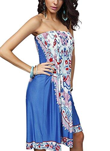 Landove Damen Kleid Blau