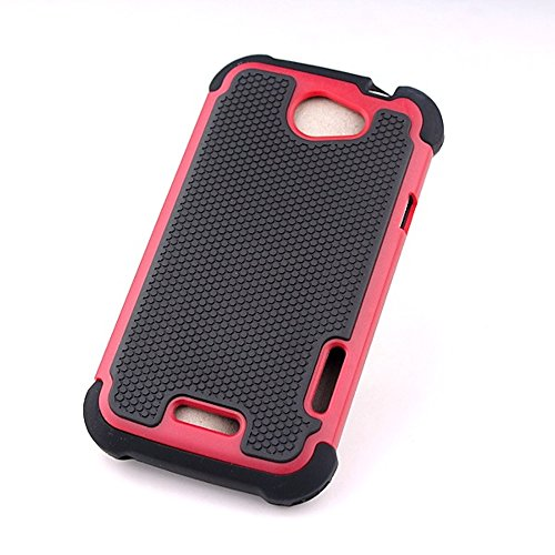 Bracevor HTC One X Triple Layer Defender hard shell back case rugged cover - Red  available at amazon for Rs.199