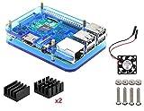 Pour Raspberry Pi 3 Modèlel b Kit , Boitier , dissipateur ,Ventilateur (Bleu)