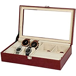 PU Leather 6-Slot Watch And 3 Slot Jewellery Window Case Decorative Organizer
