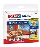 Tesa 05390-00111-00 Gummidichtung für Fenster und Türen, P-Profil, Braun