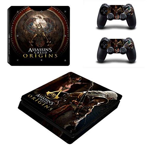 Creed 3 Assassins 2 Playstation (Playstation 4 Slim + 2 Controller Aufkleber Schutzfolien Set - Assassins Creed Origins (3) /PS4 S)