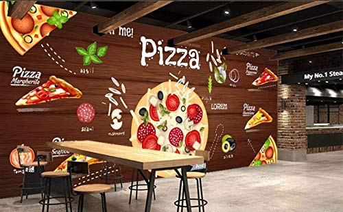 Minyose Custom wallpaper 3D Pizza background wall western restaurant murals TV backdrop wall mural 3D Wallpaper for wall-350cmx245cm Red Brick Pizza