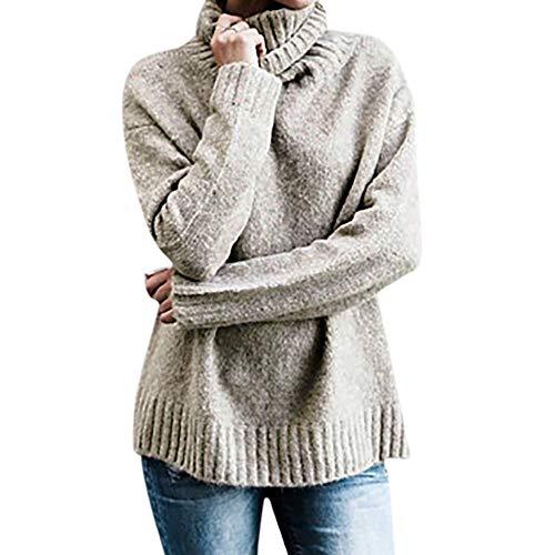 Damen Oberteile Oversize Sweater Rollkragen Pullovers Langarm Lose Pullover Rollkragenpulli...