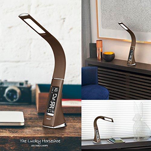WILIT U2 – Lampada da tavolo a LED da 5 W, schermo dimmerabile, con sveglia, calendario, ora e temperatura, lampada da comodino con 3 livelli di luminosità, dimmerabile, colore: Caffè prezzo