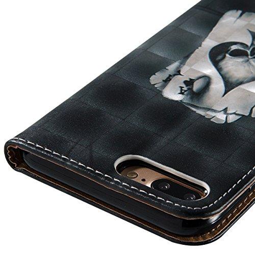 iPhone 8 Plus Hülle,iPhone 7 Plus Hülle,SainCat PU Leder Brieftasche Hülle im BookStyle Wallet Case Lederhülle Folio 3D Relief Schutzhülle Muster Ledertasche Hülle Bumper Handytasche Skin Schale Soft  Poker