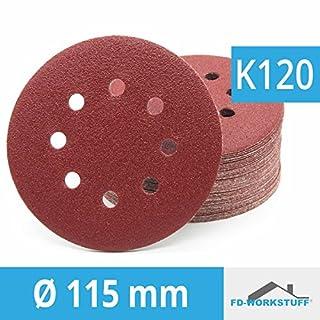Pack of 50 Sanding Disks Diameter 115 mm 120 Grit 8 Hole