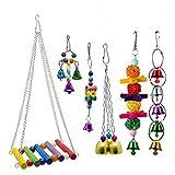 6PCS Pet Toy Toy Pappagallo Oscillare con Campana Colorata, Ganci in Acciaio Resistente Facile da Appendere, Bird Climb Giocattolo Adatto per Pappagallo, Ara, Love Bird