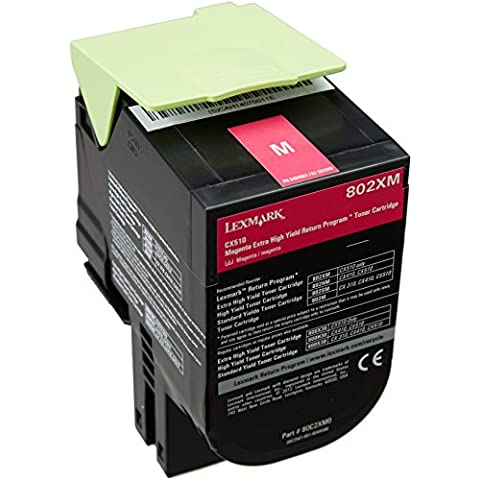 Lexmark 802XM - Tóner para impresoras láser (Magenta, Laser, Lexmark CX510de Lexmark CX510dhe Lexmark CX510dthe, 141 x 102 x 72 mm)