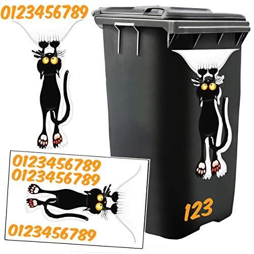 *Unbekannt 2* Aufkleber für Mülltonne –  Katze  – 31 TLG. Set – incl. Zahlen / Hausnummer – Nummern Mülltonnenaufkleber / Mülltonnensticker – Sticker – wetterfest & wa..*