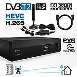 Crypto Redi 270PHA DVBT2 Receiver Antennenempfang (Dachantenne, Innenantenne) für öffentliche Sender, inkl DA 100 DVB-T2 Innenantenne (Passiv/Aktiv), Antennen-Verstärker Sowie Ein HDMI Kabel 1M