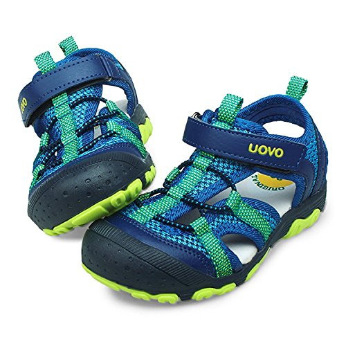 UOVO Boys Sandals Athletic Water Beach Sandals Open-Toe Outdoor Strap Sandals Kids Summer Shoes Quick-Drying (2 UK Child, Blue)
