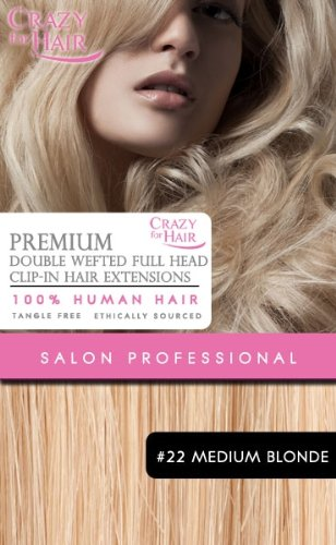Premium Extensions de cheveux humains - Double wefted Clip-in 22\\