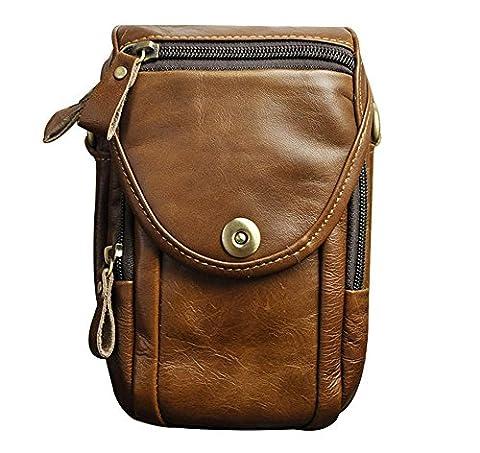 Genda 2Archer Hommes en cuir Vintage sac banane Mini sacoche besace ceinture (KZ269 Brun)