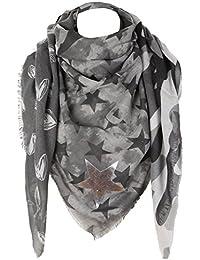 caripe XXL großer Damen Schal quadratisch Halstuch oversized Punkte Paisley Anker Sterne - PS