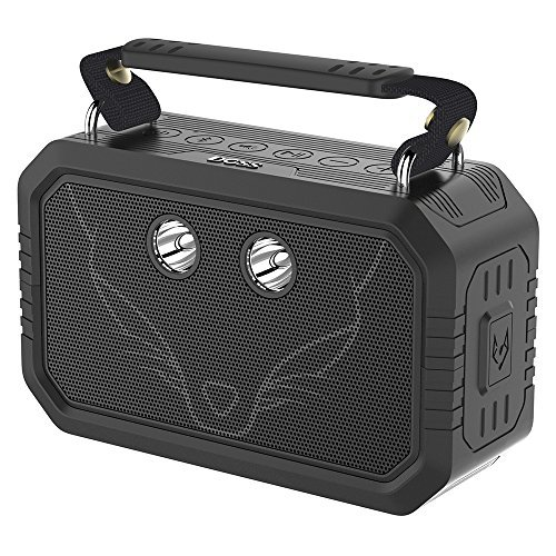 DOSS Traveler Altavoces bluetooth portátiles e impermeables. Cuentan con un sonido HD de 20 vatios, graves mejorados, micrófono incorporado y una batería recargable para iPhone y Android.[Negro]